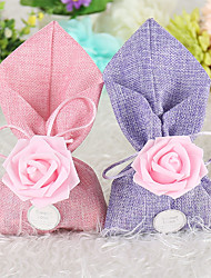 cheap -irregular Linen / Cotton Blend Favor Holder with Ribbons Favor Bags - 12pcs