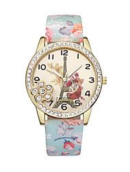 cheap -Women's Wrist Watch Diamond Watch Quartz Leather Black / Blue / Red Eiffel Tower Casual Watch Analog Ladies Flower Fashion - Blue Pink Light Green