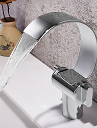 cheap -Bathroom Sink Faucet - Waterfall / Widespread Chrome Deck Mounted Two Handles One HoleBath Taps