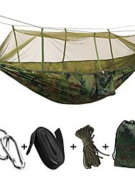 cheap -Camping Hammock with Mosquito Net Outdoor Portable Lightweight Breathable Parachute Nylon with Carabiners and Tree Straps for 2 person Camping / Hiking Hunting Fishing Green 260*140 cm