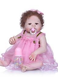 cheap -NPKCOLLECTION NPK DOLL Reborn Doll Girl Doll Baby Girl 24 inch Full Body Silicone Vinyl - Cute New Design Artificial Implantation Brown Eyes Kid's Girls' Toy Gift