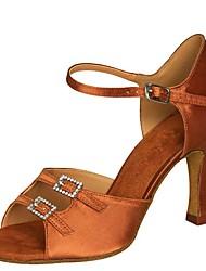 cheap -Women's Dance Shoes Satin Latin Shoes Sandal / Heel Flared Heel Customizable Black / khaki / Dark Brown / Performance / Practice