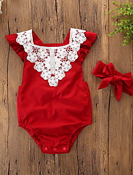 cheap -2pcs Baby Girls' Active / Basic Christmas / Daily / Holiday Floral / Christmas Lace / Lace Trims Short Sleeves Bodysuit Red / Toddler