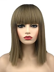 cheap -Synthetic Wig Straight Short Bob Wig Medium Length Dark Brown / Golden Blonde Synthetic Hair 16 inch Women's Synthetic Dark Brown Gold Blonde Ombre
