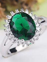 cheap -Women's Ring 1pc Green Copper Rhinestone Platinum Plated Ladies Classic Elegant Wedding Party Jewelry Classic Retro Simulated Precious Cocktail Ring Cute / Imitation Diamond