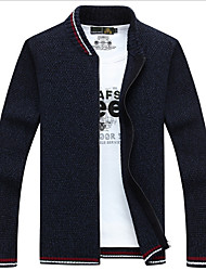 cheap -Men's Daily Solid Colored Long Sleeve Regular Cardigan Sweater Jumper, Stand Black / Wine / Blue M / L / XL