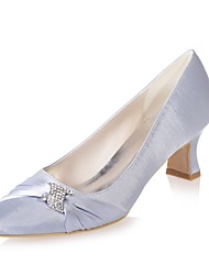 cheap -Women's Wedding Shoes Spool Heel Square Toe Basic Pump Wedding Party & Evening Satin Rhinestone Solid Colored White Purple Blue