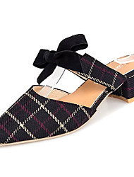 cheap -Women's Clogs & Mules Chunky Heel Pointed Toe Bowknot Suede Slingback Spring & Summer Black / Beige