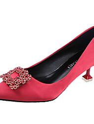cheap -Women's Heels Kitten Heel Pointed Toe PU(Polyurethane) Basic Pump Summer Black / Red / Champagne / Wedding