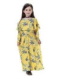 cheap -Kids Girls' Sweet Boho Daily Going out Beach Pineapple Fruit Long Sleeve Midi Dress Navy Blue