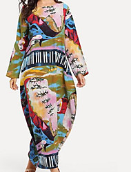 cheap -Women's Plus Size Daily Maxi Loose Tunic Dress - Graphic Print Spring Cotton Rainbow XXL XXXL XXXXL
