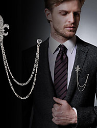 cheap -Men's Cubic Zirconia Brooches Stylish Link / Chain Statement Fashion British Brooch Jewelry Black / Gray Gold Silver For Daily Holiday