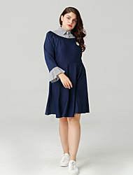 cheap -Women's Royal Blue Dress Basic Spring Daily A Line Color Block Shirt Collar Patchwork XL XXL