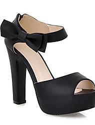cheap -Women's Heels Stiletto Heel PU Comfort Summer Black / Almond / Orange / Daily