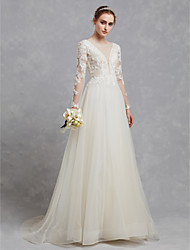 cheap -A-Line Wedding Dresses Bateau Neck Sweep / Brush Train Lace Tulle Long Sleeve Cutouts with Lace Appliques 2021