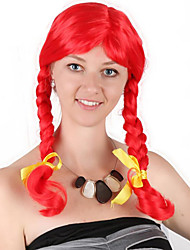 cheap -Synthetic Wig Cosplay Wig Curly Braid Wig Long Red Synthetic Hair 24 inch Women's Cosplay Plait Hair Red