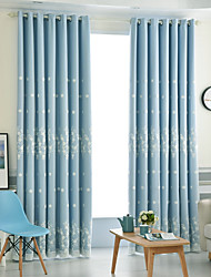 cheap -Modern Blackout Curtains Drapes Two Panels Curtain & Sheer / Embroidery / Bedroom