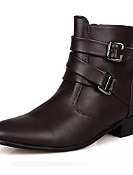 cheap -Men's Fashion Boots PU Fall Boots Black / Brown / White / Outdoor