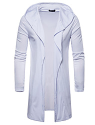 cheap -Men's Daily Solid Colored Long Sleeve Long Cardigan Sweater Jumper, Hooded Black / Light gray / White M / L / XL