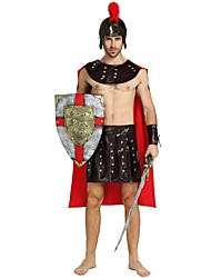 cheap -Soldier / Warrior Costume Adults Men's Ancient Greek Ancient Rome Halloween Halloween Carnival Masquerade Festival / Holiday Polyster Brown Carnival Costumes Solid Colored Halloween