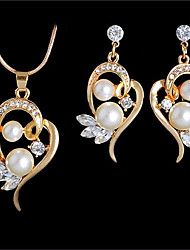 cheap -Women's Freshwater Pearl Pendant Necklace Earrings Hollow Out Heart Hollow Heart Ladies Romantic Casual / Sporty Fashion Elegant Earrings Jewelry Gold / Silver For Wedding Gift Masquerade Engagement