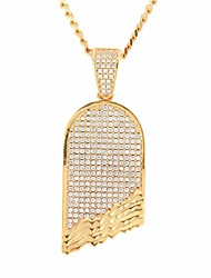cheap -Men's Cubic Zirconia Pendant Necklace Chain Necklace Stylish Cuban Link Skateboard Stylish European Hip-Hop Hip Hop Copper Rhinestone Gold Silver 60 cm Necklace Jewelry 1pc For Street Club