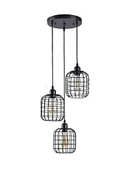 cheap -3-Light Vintage Industrial Metal Cage Cluster Chandelier 3-Head Living Room Dining Room Pendant Lamp