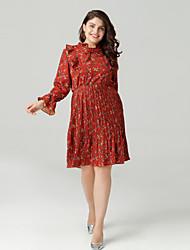 cheap -Women's Daily Basic Slim A Line Dress - Floral Print High Waist Stand Spring Red XXXL XXXXL XXXXXL