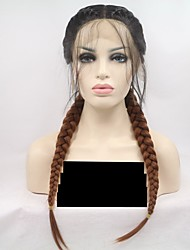 cheap -Synthetic Lace Front Wig Straight Braid Lace Front Wig Black / Blonde Medium Length Ombre Black / Medium Auburn Synthetic Hair 26 inch Women's Women Black / Blonde