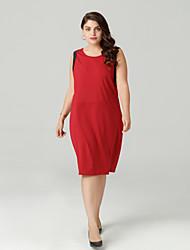 cheap -Women's Daily Basic Slim Sheath Dress Summer Red XL XXL XXXL