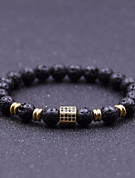 cheap -Men's Cubic Zirconia Natural Stone Bead Bracelet Stylish Beads Creative Chakra Stylish Vintage Casual / Sporty equilibrio Rhinestone Bracelet Jewelry Black / Silver / Rose Gold For Daily Street