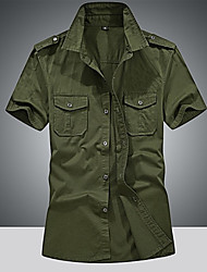 cheap -Men's Daily Going out Military Cotton Shirt - Solid Colored Army Green / Short Sleeve / Summer