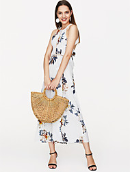 cheap -Women's Floral Holiday Maxi Dress - Floral Backless Print Strap Summer White M L XL