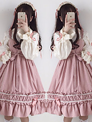 cheap -Sweet Lolita Dress Girls' Female Japanese Cosplay Costumes Black / Red / Pink Stitching Lace Juliet Sleeve Long Sleeve