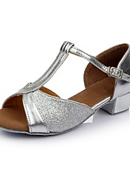 cheap -Women's Dance Shoes Patent Leather Latin Shoes Splicing Sandal / Heel Thick Heel Customizable Silver / Performance / Practice