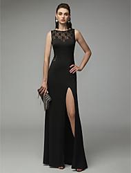 cheap -Sheath / Column Beautiful Back Formal Evening Dress Jewel Neck Sleeveless Floor Length Lace Jersey with Split Front 2020