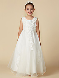 cheap -A-Line Floor Length Wedding / First Communion Flower Girl Dresses - Organza / Satin Sleeveless Jewel Neck with Lace / Pleats