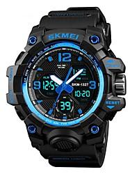 Недорогие -SKMEI Муж. Спортивные часы электронные часы Цифровой Стеганная ПУ кожа Черный / Зеленый / Хаки 50 m Защита от влаги Календарь Секундомер Цифровой На каждый день Мода - Зеленый Синий Хаки / Хронометр