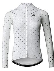 cheap -Mysenlan Women's Long Sleeve Cycling Jersey Winter Fleece Polyester Black White Polka Dot Bike Jersey Top Mountain Bike MTB Road Bike Cycling Sports Clothing Apparel / YKK Zipper