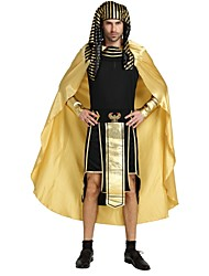 cheap -Egyptian Costume Highschool Men's Halloween Costume For Polyster Solid Colored Striped Halloween Christmas Halloween Carnival Leotard / Onesie Shawl Belt / Cloak / Headwear