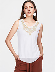 cheap -Women's Plus Size Solid Colored Sequins Blouse Street chic Daily Weekend White / Black