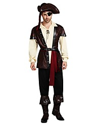 cheap -Pirates of the Caribbean Costume Adults Highschool Men's Halloween Halloween Carnival Masquerade Festival / Holiday Polyster Coffee Carnival Costumes Solid Colored Halloween