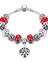 cheap -Women's Charm Bracelet Pendant Bracelet Tassel Beads Creative Heart Ladies Unique Design Dangling Romantic Copper Bracelet Jewelry Red For Gift Daily / Silver Plated
