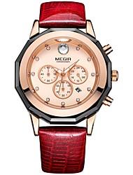 cheap -MEGIR Women's Dress Watch Wrist Watch Japanese Quartz Leather Black / White / Red 30 m Water Resistant / Waterproof Calendar / date / day Chronograph Analog Ladies Fashion Elegant - White Black Red