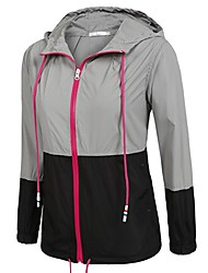 cheap -Women's Hiking Raincoat Hiking Windbreaker Outdoor Patchwork Lightweight UV Resistant Rain Waterproof Quick Dry Jacket Top Spandex Single Slider Camping / Hiking / Caving Travel Black / Gray+Green