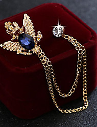 cheap -Men's Cubic Zirconia Brooches Stylish Link / Chain Elegant Fashion British Brooch Jewelry Black Blue For Wedding Holiday