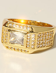 cheap -Ring Classic Gold Brass Imitation Diamond 24K Gold Plated Precious Luxury Classic Fashion 1pc 7 8 9 10 11 / Men's / Solitaire