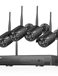 Недорогие -Hiseeu® 1080p беспроводная система видеонаблюдения HDD 2-мегапиксельная 4-канальный мощный NVR IP-камера видеонаблюдения ИК-камера видеонаблюдения комплекты системы безопасности IP Wi-Fi