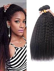 cheap -3 Bundles Brazilian Hair Yaki Human Hair Natural Color Hair Weaves / Hair Bulk Bundle Hair One Pack Solution 8-28 inch Natural Color Human Hair Weaves Classic Best Quality New Arrival Human Hair / 8A