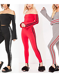 cheap -Women's High Rise Off Shoulder Tracksuit Stripes Zumba Yoga Running Tights Leggings Crop Top Long Sleeve Activewear Lightweight Breathable Quick Dry Micro-elastic